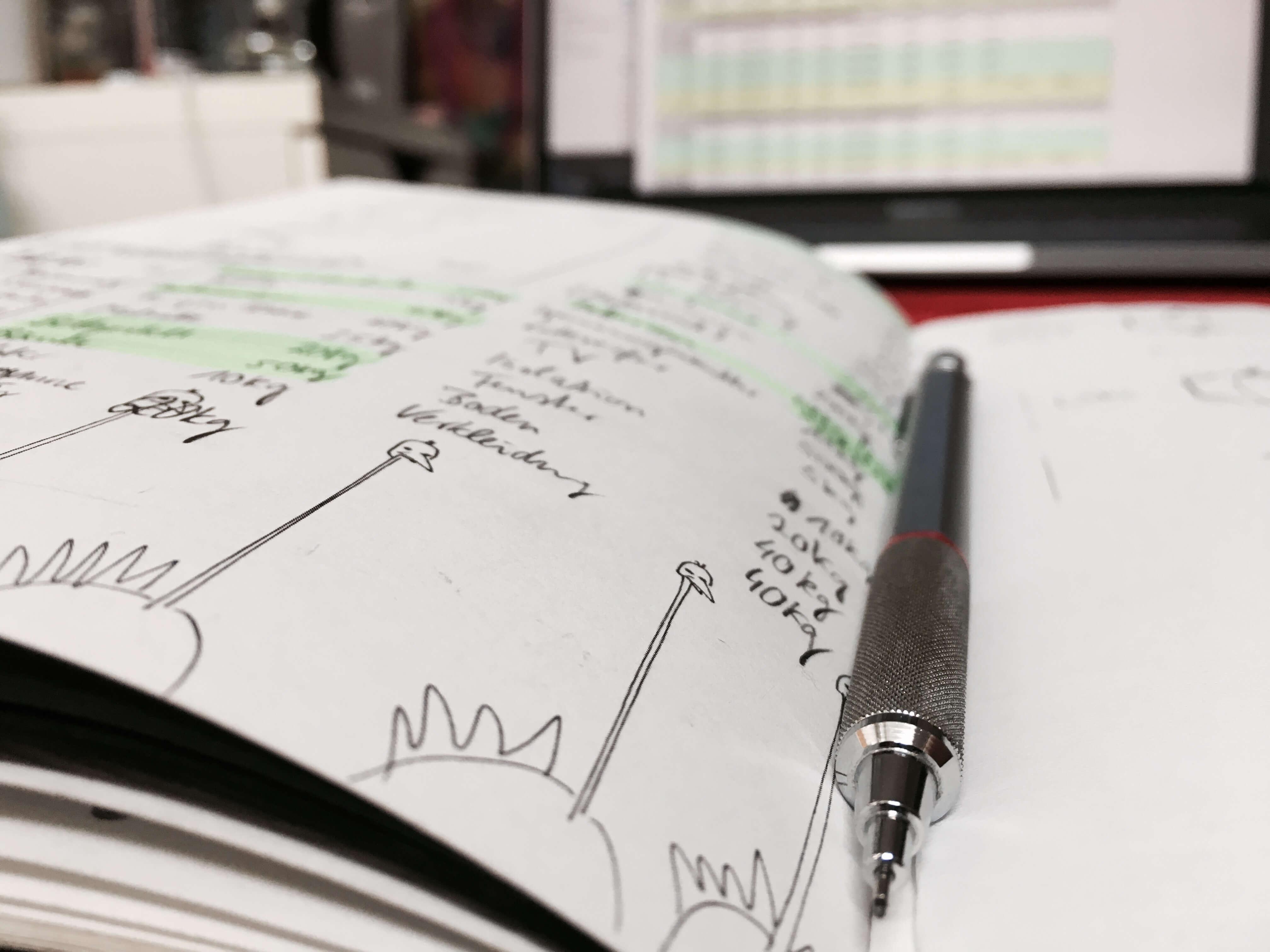 Aufzeichnungen und Brainstorming