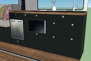 Küchenblock mit Geräten und Stauraum