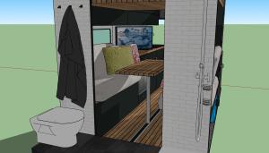 Sicht vom Bad in den Wohnbereich